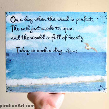 Mixed Media Original Rumi Quote Art 8x10 Wall Art - Sailing Art Beach Decor Nautical Decor - Inspirational Quotes Beach House Art Nature
