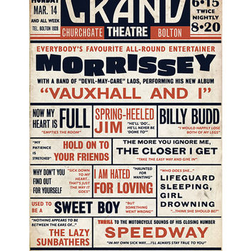Morrissey 'Vauxhall And I' Playbill Poster Print Music Hall Vaudeville Theatre Literary Print