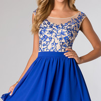 Electric Blue Short Open Back Party Dress