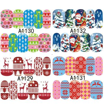 1 Sheet Christmas Style Nail Stickers Nail Art Water Transfer Designs Xmas Mixed Decals Beauty Full Wraps Manicure LAA1129-1132