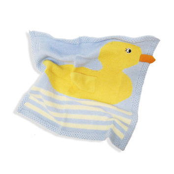 "Estella Organic Cotton Lovey or Baby Security Blanket - Yellow Duck 14"" x 14"""