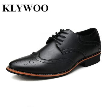 KLYWOO New Brogue Oxford Shoes For Men Dress Shoes Microfiber Leather Office Shoes Men