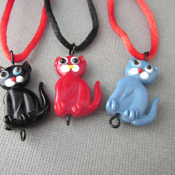 Kitty Cat Body Pendant Necklace, Lampwork Cat Necklace, Black Cat Pendant, Blue Cat Pendant, Red Cat Pendant