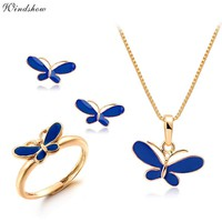 Cute Blue Oil Drop Butterfly Necklaces & Pendants Earrings Ring Small Jewelry Sets for Kids Children Girls Gold Color Jewellery