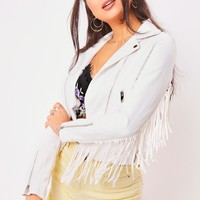 roxy white tassel faux leather biker jacket