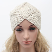 Women Bohemian Hat Slouchy Knit Winter Beanie Woman Bonnet Warm India Cap Muslim Hats Beige/Black/Dark Gray/Navy blue