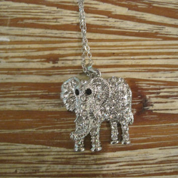 Rhinestone Elephant necklace- Elephant with Crystals Necklace- Elephant Necklace - Elephant Jewelry