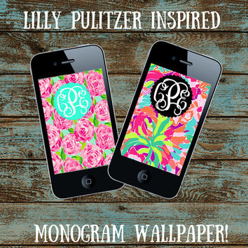 Custom Monogram Lilly Pulitzer Iphone Wallpaper DOWNLOAD - Personalize  - Wallpaper - Name - Monogram Lilly - Pattern - JPEG