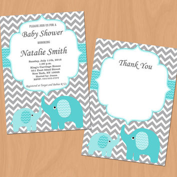 Baby Shower Invitation Elephant Baby Shower Invitation Boy Baby Shower Invitation Editable (85a) -Free Thank You Card - Instant Download
