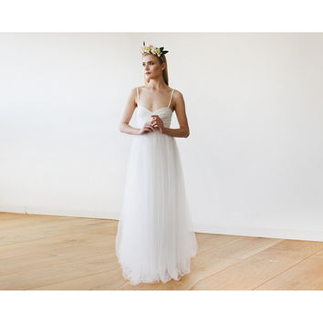 Ivory maxi ballerina tulle wedding dress 1061