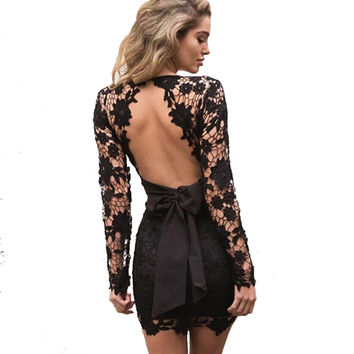 Sexy Bow Fringe Lace Black Mini Dress 2017 Summer Deep V Neck Long Sleeve Backless Crochet Women Vestidos Party Pink Dresses -0331