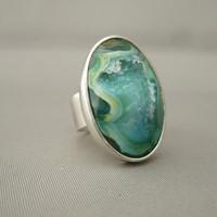 Minty Green Drusy Agate Oval Cocktail Statement Ring Handmade from Sterling Silver | The Silver Forge Handcrafted Jewellery