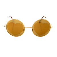 Indie Hippie Retro Style Heart Mirror Lens Metal Round Sunglasses R2360