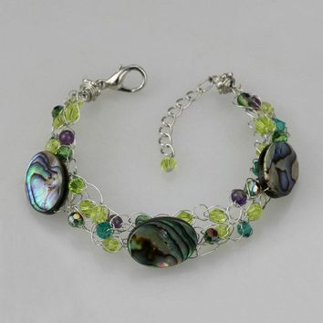 Abalone shell chunky crochet wiring Bracelet  bridesmaids gifts Free US Shipping handmade anni designs