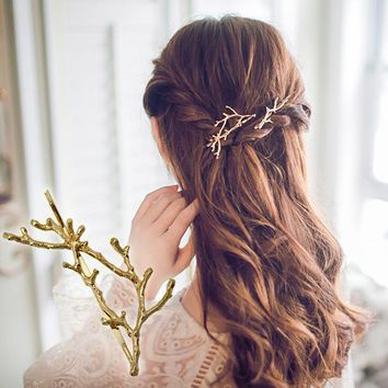Hair Accessories - Hot Sale Hair Ornaments-antlers Hairpin Fashion Personality Princess Clip Jewelry #2110306