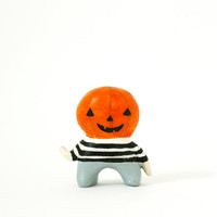 Pumpkin boy - Halloween miniature - Holiday deco - Paper clay sculpture