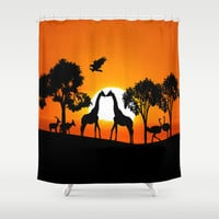 Giraffe silhouettes at sunset Shower Curtain by Laureenr