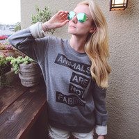 Animals Are Not Fabric Terry Pullover (Unisex)