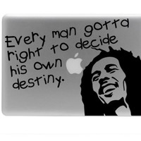 Bob Marley Laptop vinyl decal and quote by Walkingdeadpromotion