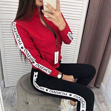 Givenchy Autumn and winter new fashion more letter string mark hooded long sleeve coat and pants two piece suit women Red