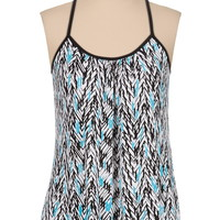 Ethnic print button back swing tank