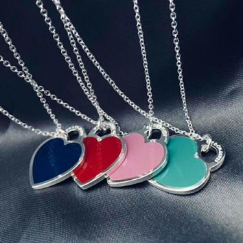 Tiffany big heart ️ necklace sterling silver chain length 40/45
