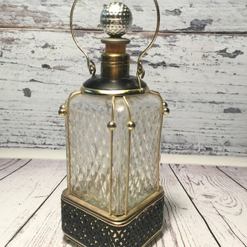 Vintage Music Box Decanter . Musical Lantern Decanter .