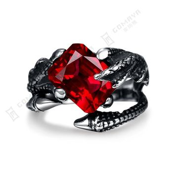 Male Metal Silver Red Zircon Dragon Claw Adjustable Couple Biker Rings Punk Skull Jewelry for Men and Women