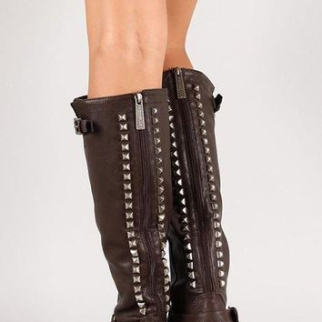 DCK7YE Breckelle Studded Buckle Riding Knee High Boot