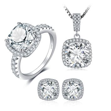 JewelryPalace Cushion 11ct Cubic Zirconia Wedding Halo Solitaire Engagement Ring Pendant Necklace Stud Earrings 925 Sterling Silver Jewelry Set