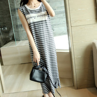 Gray Stripped Mickey Mouse Straight Long Dress