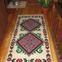 new wool rug handmade model made by me. wool rug with two faces 178cm-86cm