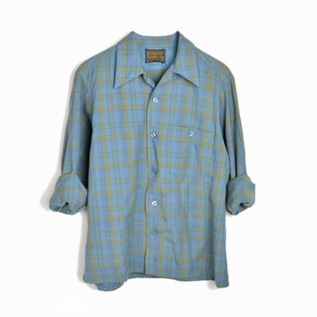 Vintage Pendleton Plaid Wool Shirt in Light Blue & Green - Men's 1970s Pendleton Shirt