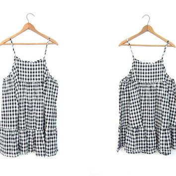 90s Checker Print Dress Grunge Mini Dress Sun Dress Sleeveless Mini Tunic Checkered Babydoll Revival Vintage Black and White Size Small XS