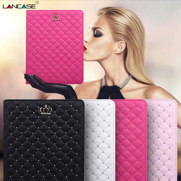 Quilted Crown Flip Leather Case For ipad mini 1 2 3 Smart Wake UP & Sleep Stand Tablet Folding Cover for iPad 2 3 4 For girl