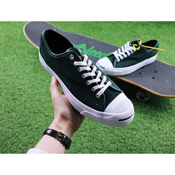 Sale Polar Skate Co. x CONVERSE Jack Purcell Pro XO Dark Green Suede Skateboard Shoes Sneaker