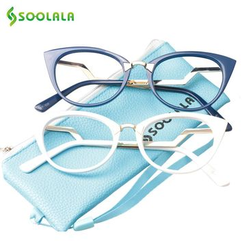 df13d196faf6 SOOLALA Cateye Men Women Reading Glasses Unique Ladder Arm Cat Eye  Presbyopia Hyperopia Reader Eyeglasses +