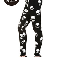 Black White Skulls Plus Size Leggings