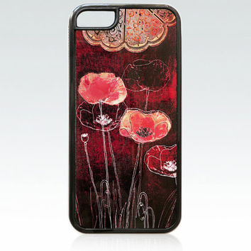 Poppies iPhone 5c case, drawing flowers iPhone 5c cover, unique, lovely, red flowers