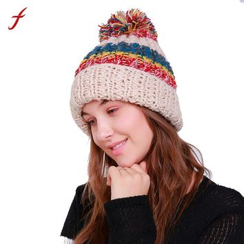 2017 Autumn Winter Patchwork Beanie hats for men women Warm Crochet Winter Wool Knit Ball Wool Cap Hat Gorros mujer invierno