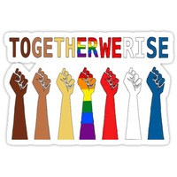 'Together we rise, #togetherwerise, Women's March, 2018' Sticker by jasonaldo00
