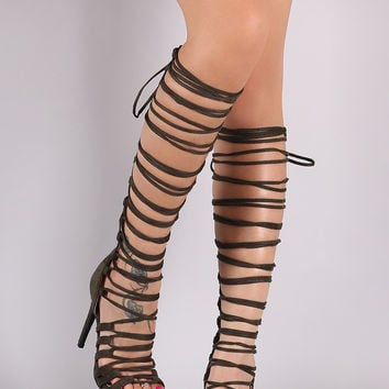 Wrap Lace Up Corset Stiletto Heel