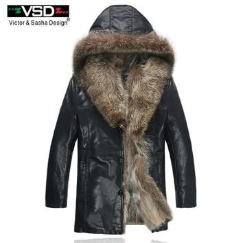Freeshipping Winter Fashion Men's Coats Raccoon Fur PU Leather Jacket Hat Keep Warm Leather Jackets Man High Quality Hot Sale VS