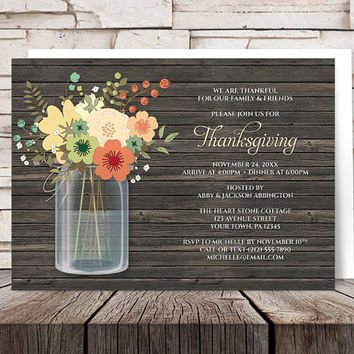 Thanksgiving Dinner Invitations - Rustic Green and Orange Floral design in Mason Jar over Brown Wood - Printed Invitations