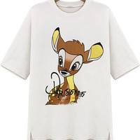 White Deer Print Short Sleeve Graphic T-Shirt