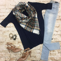 Simple Love Tunic Top: Navy