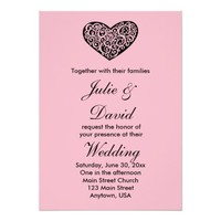 Pink and Black Heart Wedding Invitation