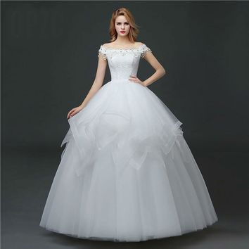 Girls Sleeveless Wedding Dresses Spring Boat Neck Lace Bride Gown Princess
