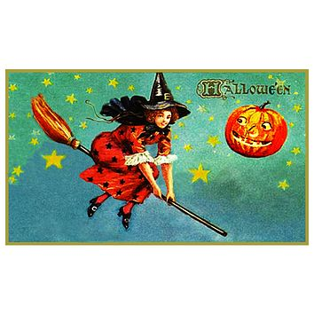 Halloween Witch on a Broom with Pumpkin Counted Cross Stitch Pattern