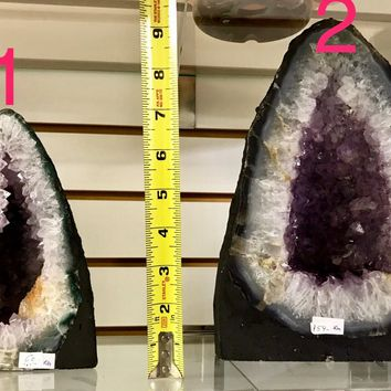 "Highest Quality Amethyst Cathedral 11"" Tall with Chalcedony Border From Uruguay- Natural Geode \ Geode \ Amethyst Geode \ Amethyst Crystal"